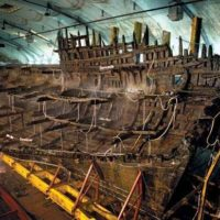 Once raised from the seabed, the ship was sprayed with cold water, which stopped it from drying out and prevented further microbial activity.