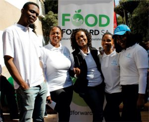 Tiisetso Tsotetsi, Kgothatso Ntsie, Sibongile Mtsweni, Qhama Tom and Maria Sorota from thyssenkrupp Industrial Solutions South Africa participated on 18 July 2019 in the FoodForward SA Mandela Day food drive packing event, in partnership with Pick n Pay.